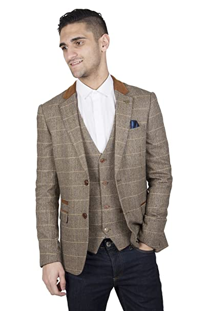 5523ce79d6b4 Marc Darcy Mens Designer Slim Fit Casual Two Button Single Breasted Tan  Herringbone Tweed Inspired Check with Suede Contrast Blazer Business Jacket  (Chest ...