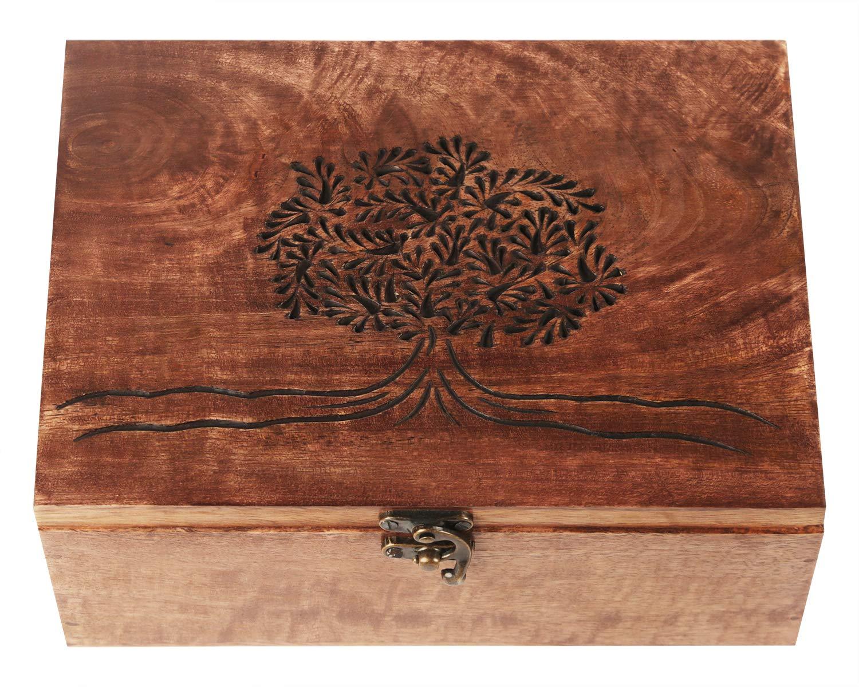 """indisch handgefertigt Rastogi Handicrafts Holzschatulle /""""Baum des Lebens/"""" f/ür Schmuck"""