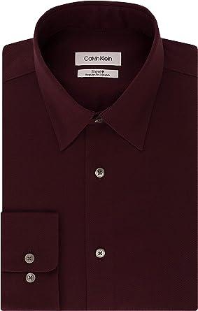 Calvin Klein Dress Shirts Non Iron Regular Fit Stretch Unsolid Solid Camisa de Vestir, Vino, 43 cm Cuello 81 cm- 84 cm Manga para Hombre: Amazon.es: Ropa y accesorios