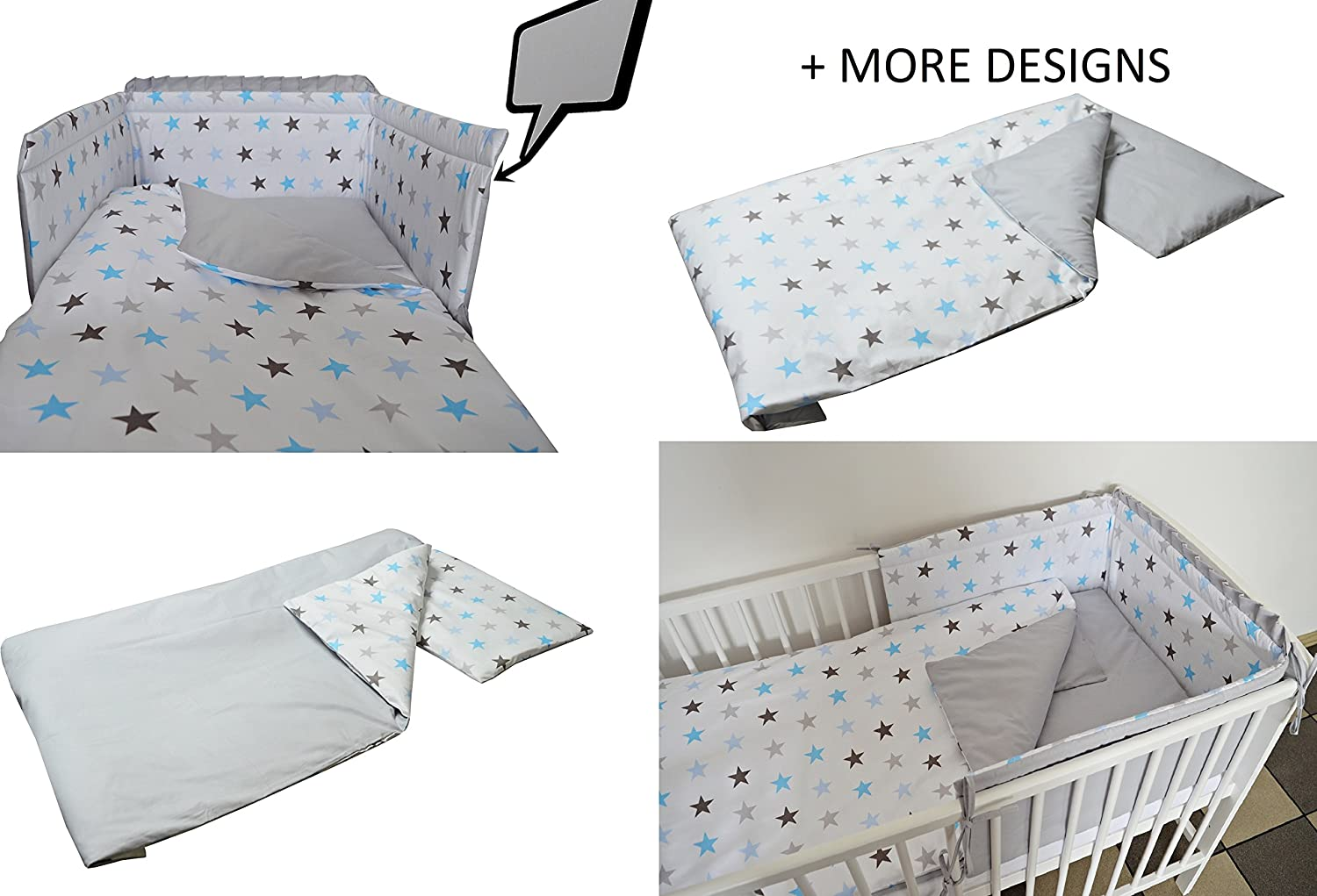 Stars-Elephant- COT Size 120X60, Black Sheep//Black Zigzag 3 pc Baby Bedding Set for COT 120X60 OR COT Bed 140X70