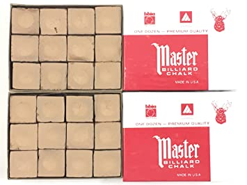 Made in the USA - 2 Boxes of Master Chalk - 24 Pieces for Pool Cues and  Billiards Sticks Tips (Gold)
