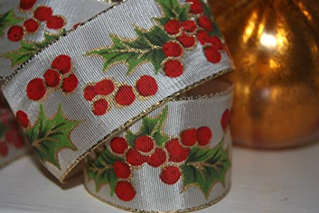 """Frosty Snowflakes Wire edged Wired Christmas  Ribbon  1.5/"""" wide"""