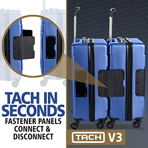 TACH V3 Hardcase Connectable Carry-on Luggage Double Wheels Rolling Suitcase with Patented Built-In Connecting System Charger Port Easily Link Carry 9 Bags At Once TSA-Approved Lock Midni