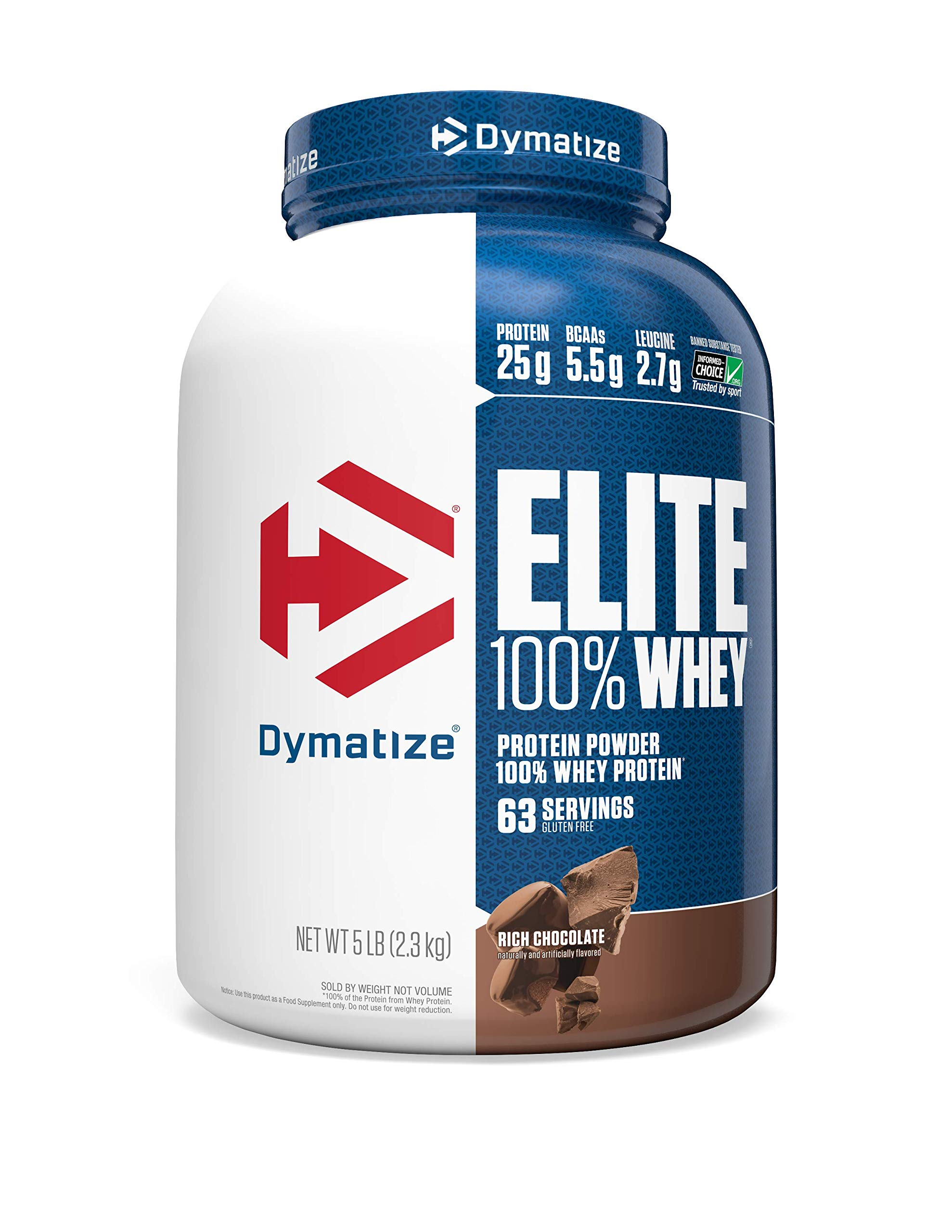 Dymatize Elite 100% Whey Protein Powder, Take Pre Workout or Post Workout, Quick Absorbing & Fast Digesting, Rich Chocolate, 5 Pound by Dymatize