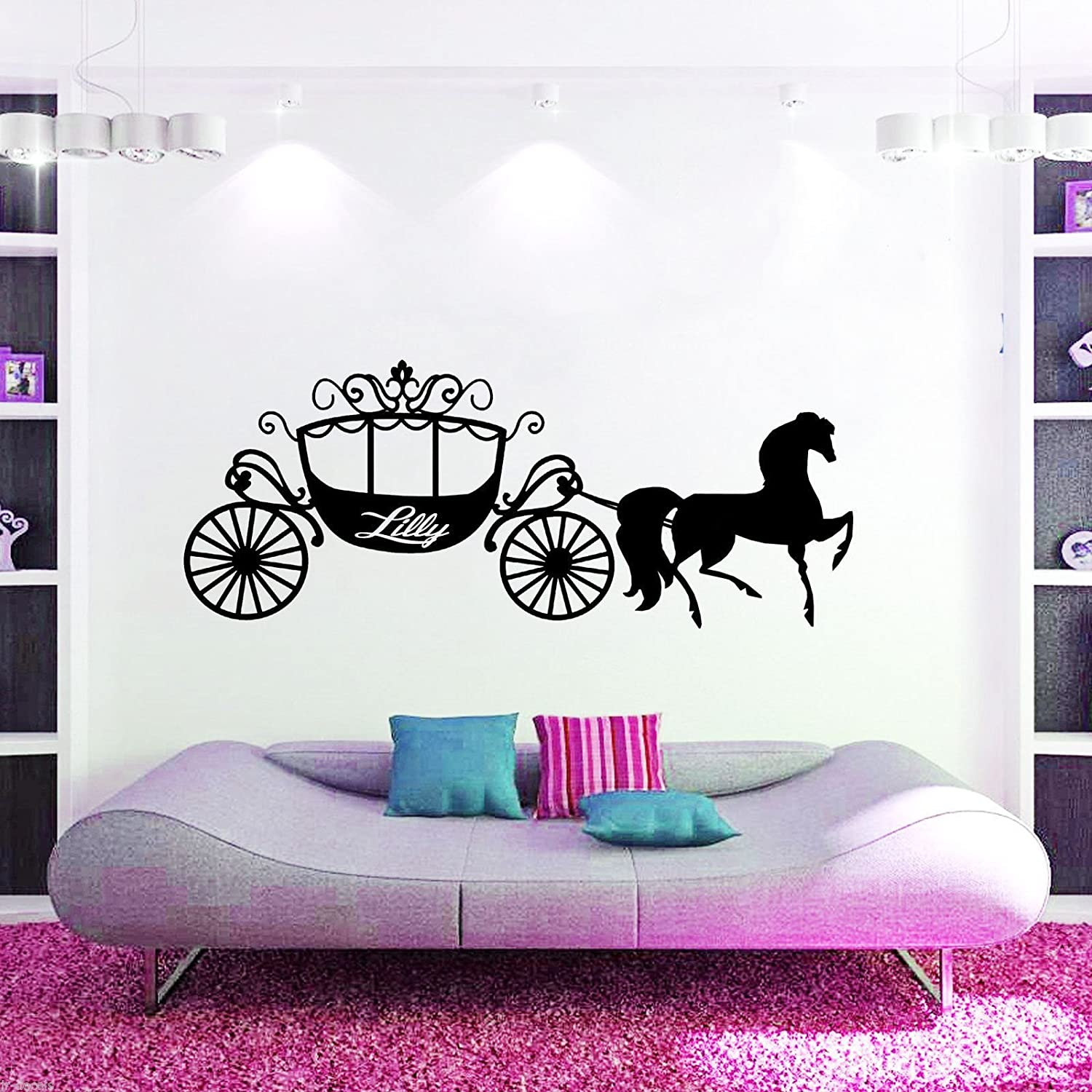 Cinderella HORSE CARRIAGE Personalised NAME Home Decor Removable wall Art Decal stickers Vinyl mural