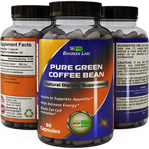 Best Pure Green Coffee Bean Extract with Extra Strength Formula for Women and Men, Highest Grade and Quality Supplement contains 800 Mg Weight Loss Dosage by Bio Sense