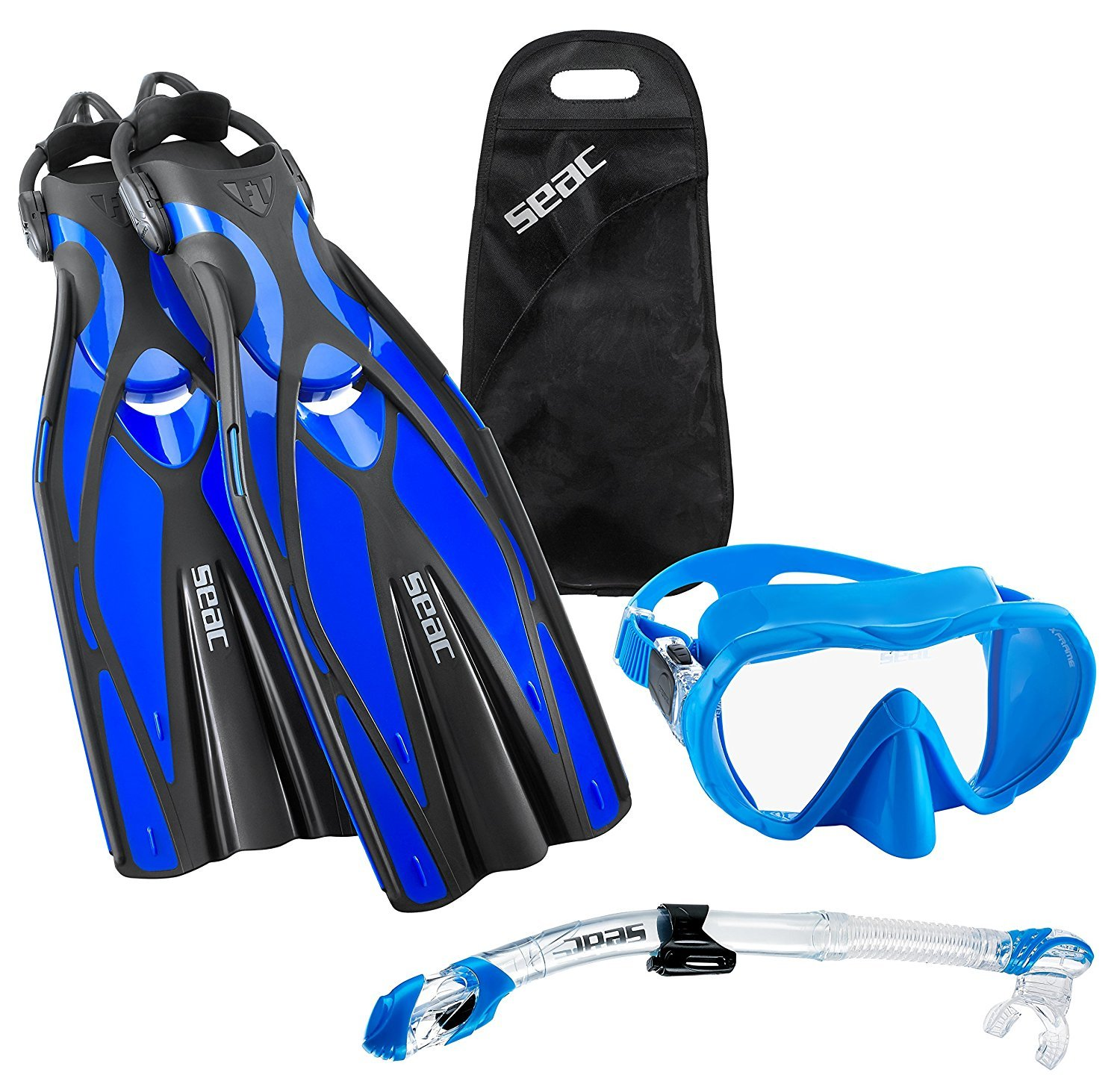 SEAC Frameless Scuba Mask Fin Snorkel Set, Blue, Large/X-Large