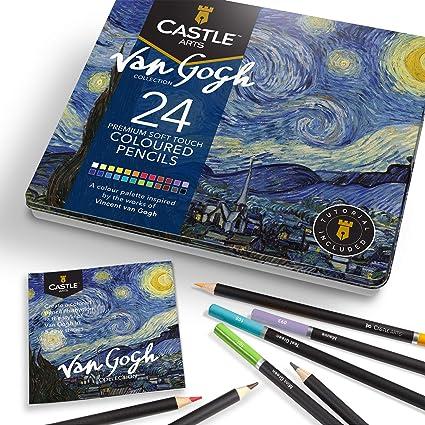 Castle Arts 24 lápices de colores en un estuche de metal, inspirado en Van Gogh. Perfecto para dibujar, hacer bocetos, colorear. Con núcleos blandos, mezcla superior y juego de capas: Amazon.es: Oficina