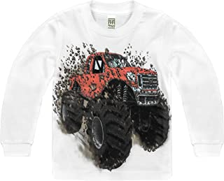 product image for Shirts That Go Little Boys' Long Sleeve Big Red Monster Truck T-Shirt
