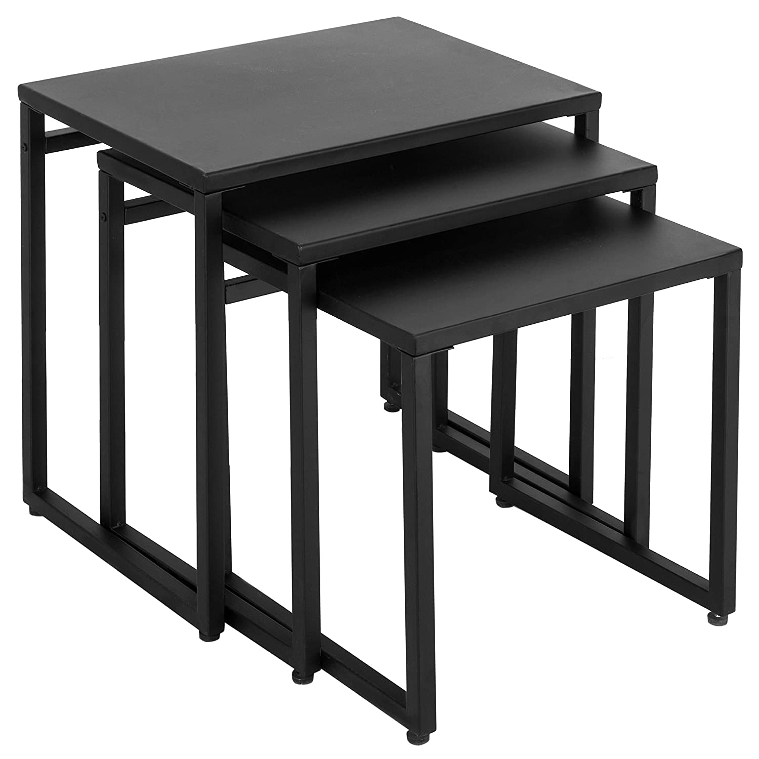 MyGift Set of 3 Black Metal Nesting End Tables