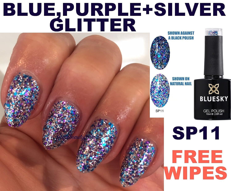 Bluesky SP11 Blue Purple And Silver Glitter Sparkle Nail Gel Polish UV LED Soak Off 10ml PLUS 2 Homebeautyforyou Shine Wipes Amazoncouk Beauty