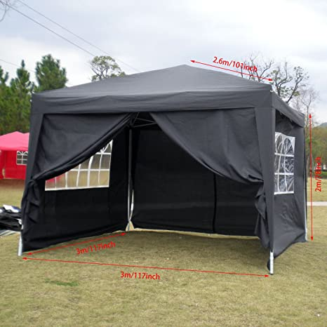 Homdox Tienda Pabellón Carpa 3M*3M con Paredes Laterales y Ventanas Plegables para Fiestas, Eventos, Boda, en Jardín o al Aire Libre, Negro: Amazon.es: ...