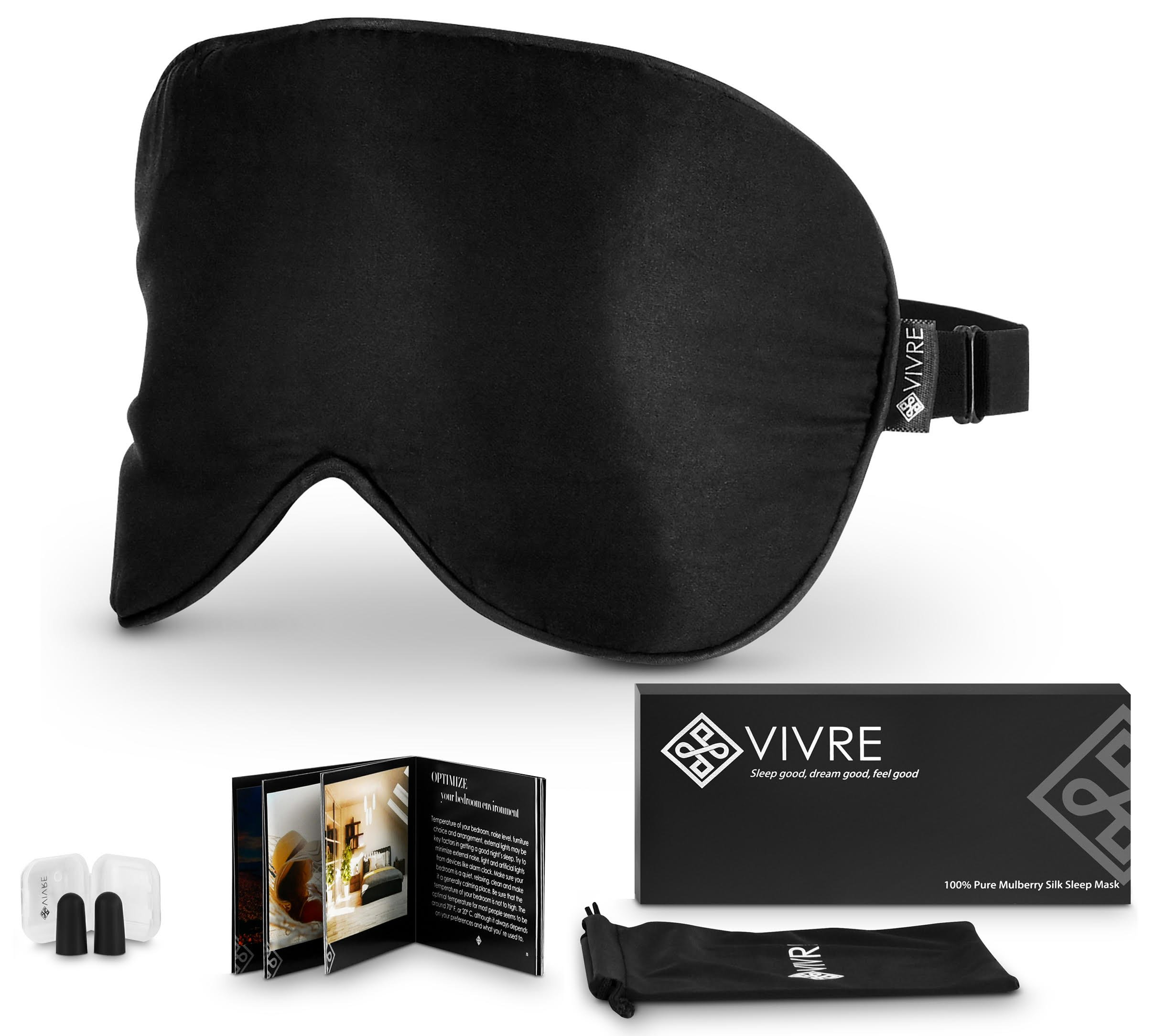 Sleep Mask Natural Silk - Adjustable Eye Mask - Best for Sleeping Blindfold & Dry Eyes + Earplugs + Travel Carry Pouch + Tips&Tricks For A Good Sleep Booklet - Exclusive Set for Men, Women & Kids