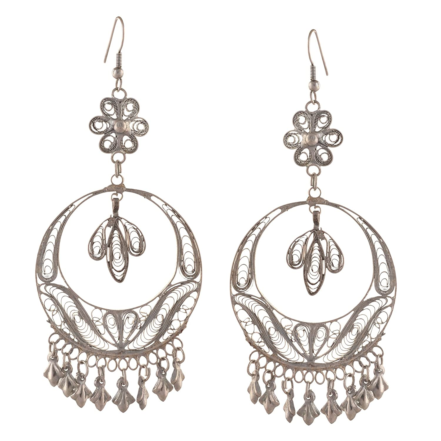 Oreleaa Fashion Silver Tone Floral Hook Chandbali Earrings for Women /& Girls For Girls and Women