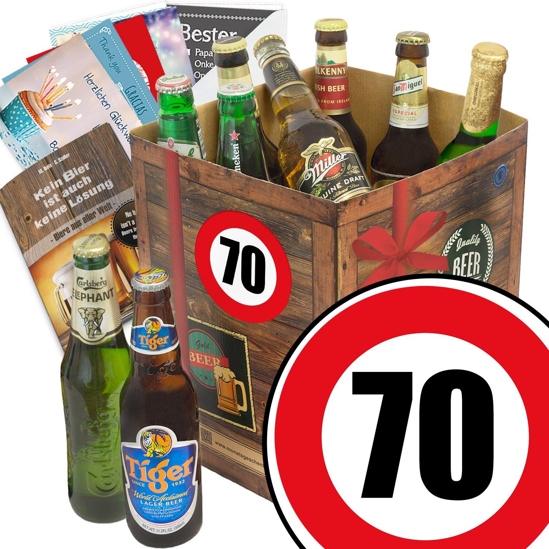 Geschenk Ideen zum 70. für Männer - Bier Geschenk Box mit Bieren der Welt + Bier Buch + gratis Geschenk Karten + Bier - Bewertungsbogen Bierset + Bier Geschenk + Personalisierte Geschenk-Box - 70 + Bier Geschenke für Männer + Jubiläumszahl 70 + Besser als