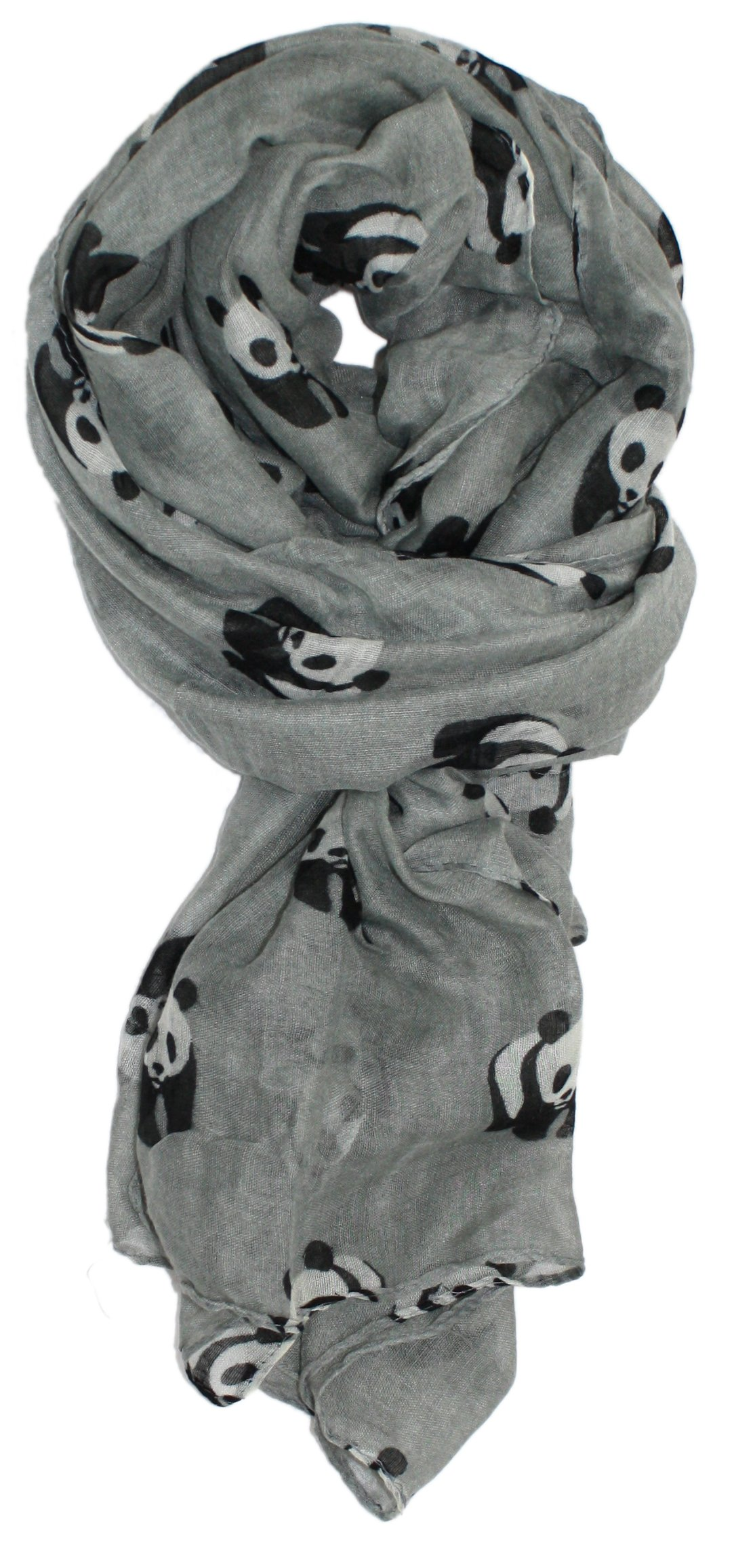 Ted and Jack - Save The Panda Whimsical Print Scarf In Light Gray