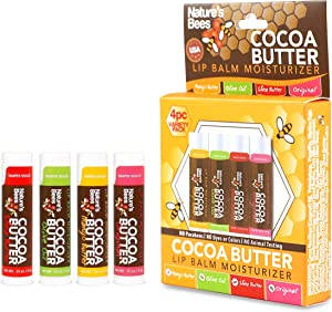 Nature's Bees, Cocoa Butter Lip Balms, Original Assorted Flavors, with Shea Butter - Box of 4