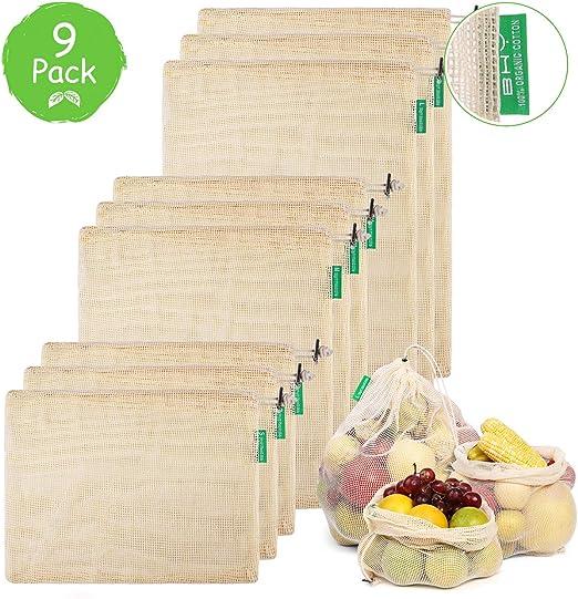 BHY Bolsa Reutilizable Algodon de Vegetales, Bolsas Reutilizables ...