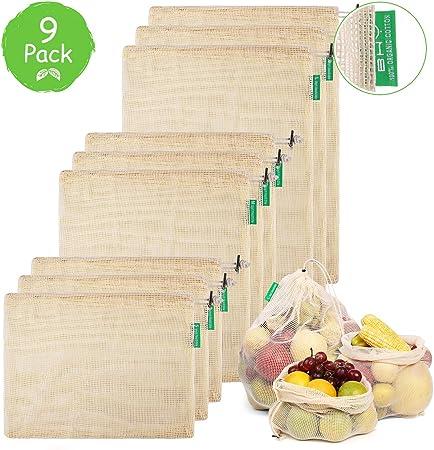 BHY Bolsa Reutilizable Algodon de Vegetales, Bolsas Reutilizables Compra, Bolsas de Malla Transpirables Adecuado para Frutas y Verduras Productos Frescos 9 Traje: Amazon.es: Hogar