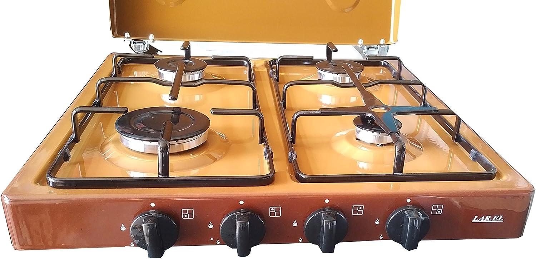 larel GPL metano Camping Gas Cocina, Marrón, 4 quemadores con soporte