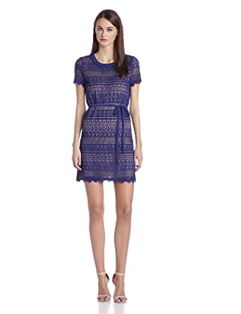 BCBGMAXAZRIA Women's Darlita Lace Sheath Dress with Belt, Deep Royal Blue, 0