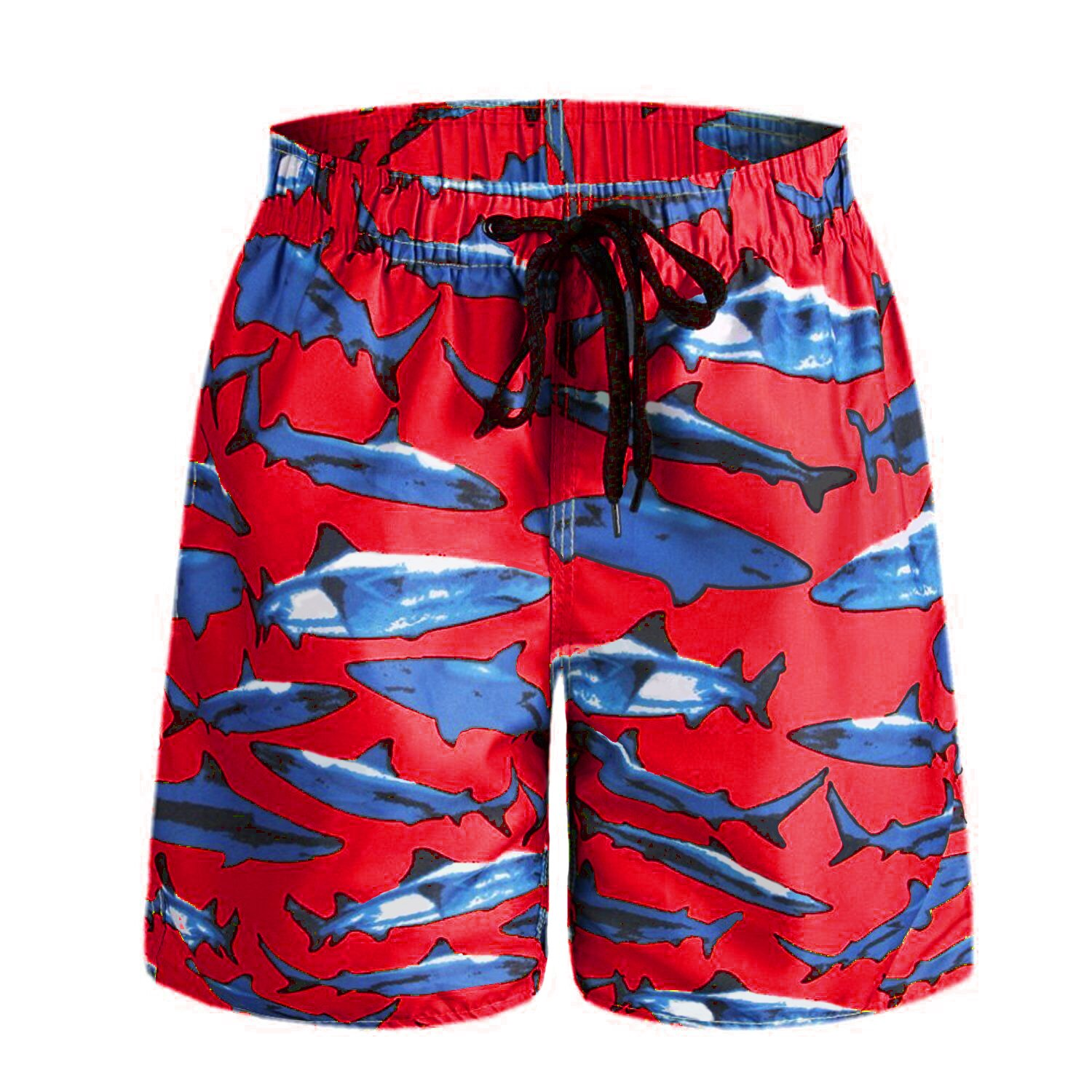ORANSSI Boys Kids Shark Printed Swim Trunks Board Shorts with Pockets (S(US 4-6), Red)