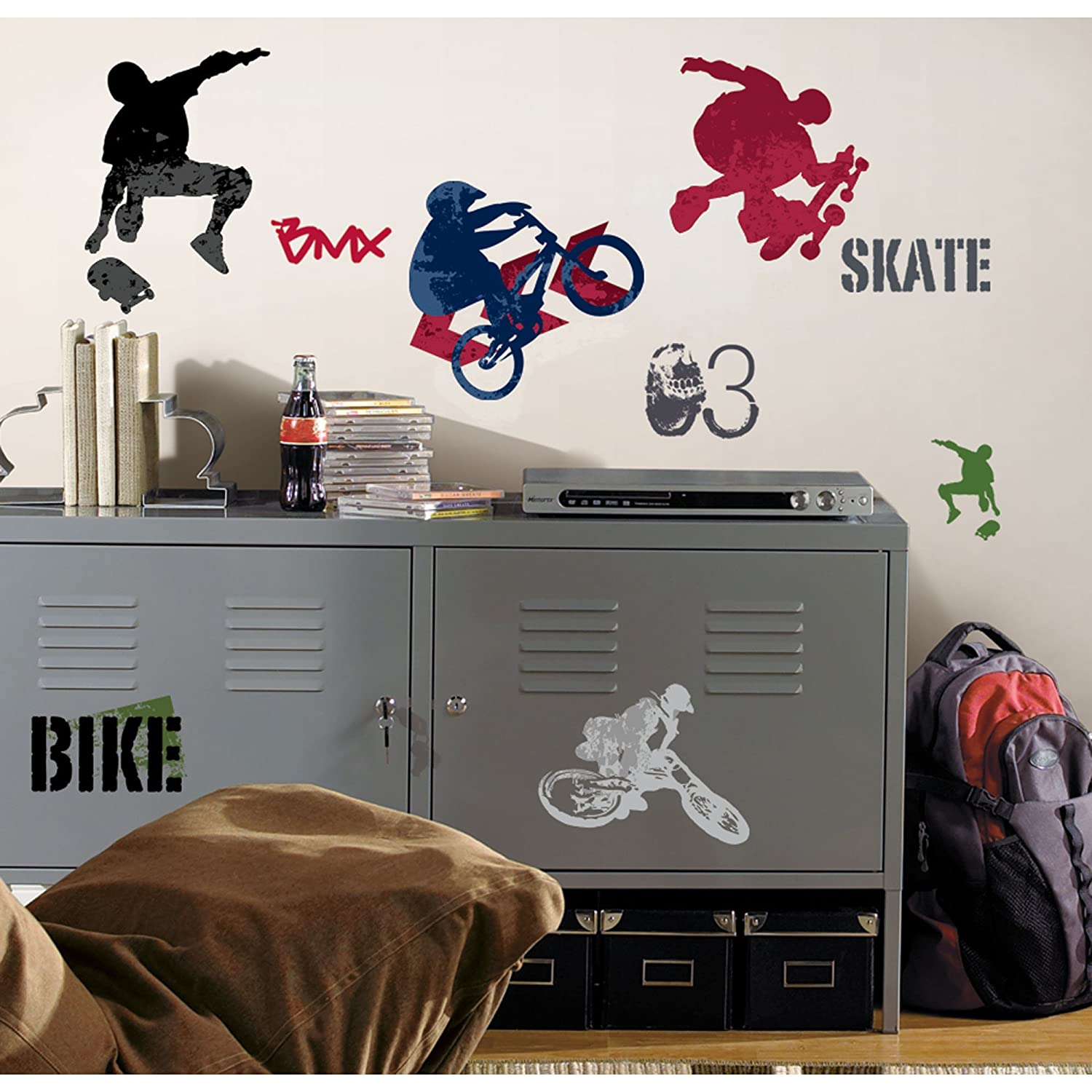 Roommates rmk1690scs extreme sports peel and stick wall decals roommates rmk1690scs extreme sports peel and stick wall decals wall decor stickers amazon amipublicfo Images