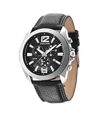 police men s quartz watch black dial chronograph display and police men s quartz watch black dial chronograph display and black leather strap 14104js 02