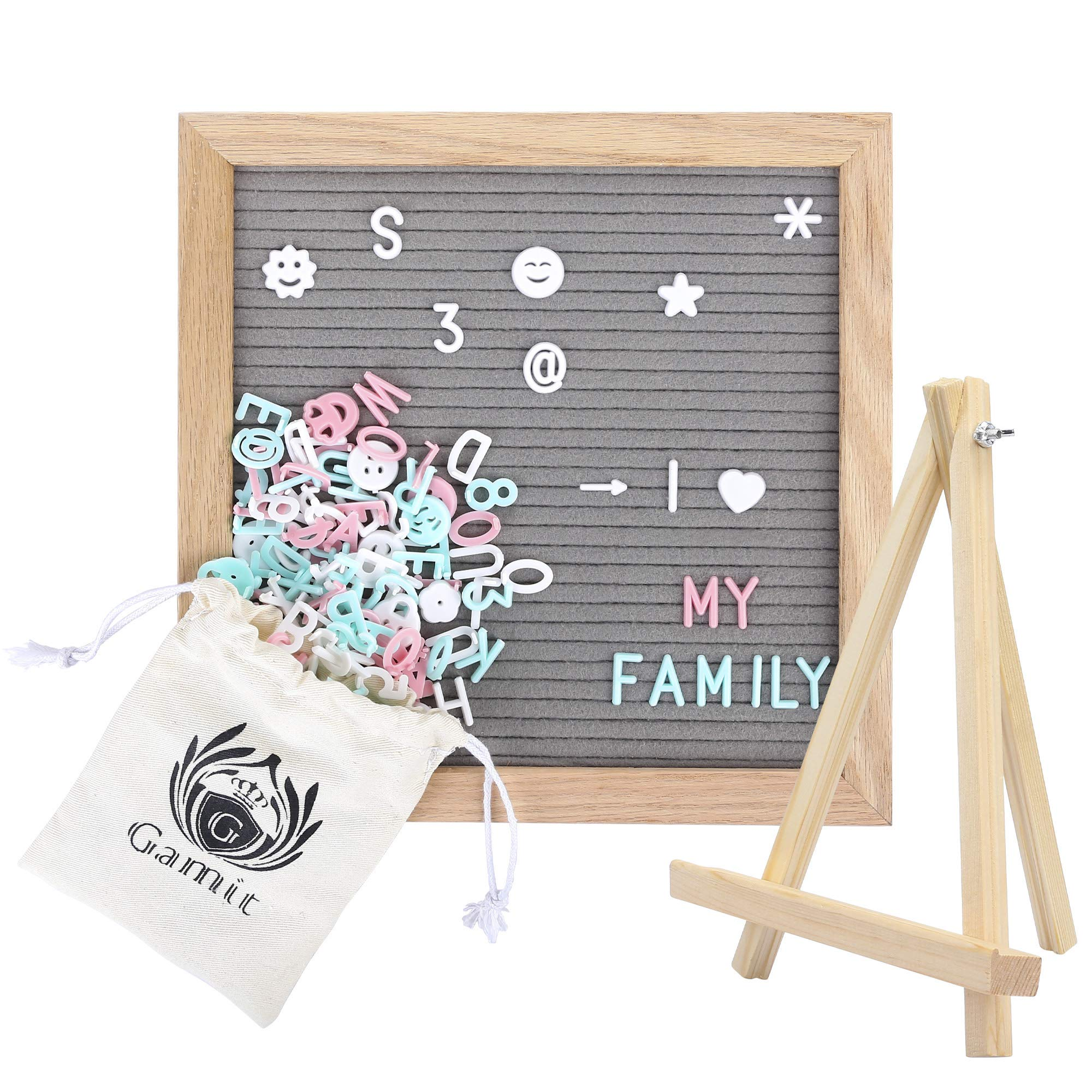 Felt Letter Board&Message Board Oak Wooden Frame 10 x 10 inches,Letter Organizer with Stand,510 White+Blue+Pink Letters and Symbols, Gray Changeable Letter Board&Word Board with Letters by G GAMIT