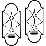 "Hosley Set of Two, 12"" High Iron Tea Light Candle Wall Sconces. Ideal Gift for Spa, Aromatherapy, wedding. Hand made by Artisans"