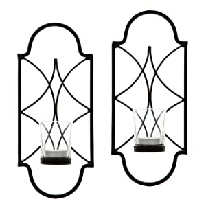 """Hosley Set of 2-12"""" High Iron Tea Light Candle Wall Sconces. Ideal Gift for Wedding, Special Occasion, Spa, Aromatherapy. Hand Made by Artisans O3"""