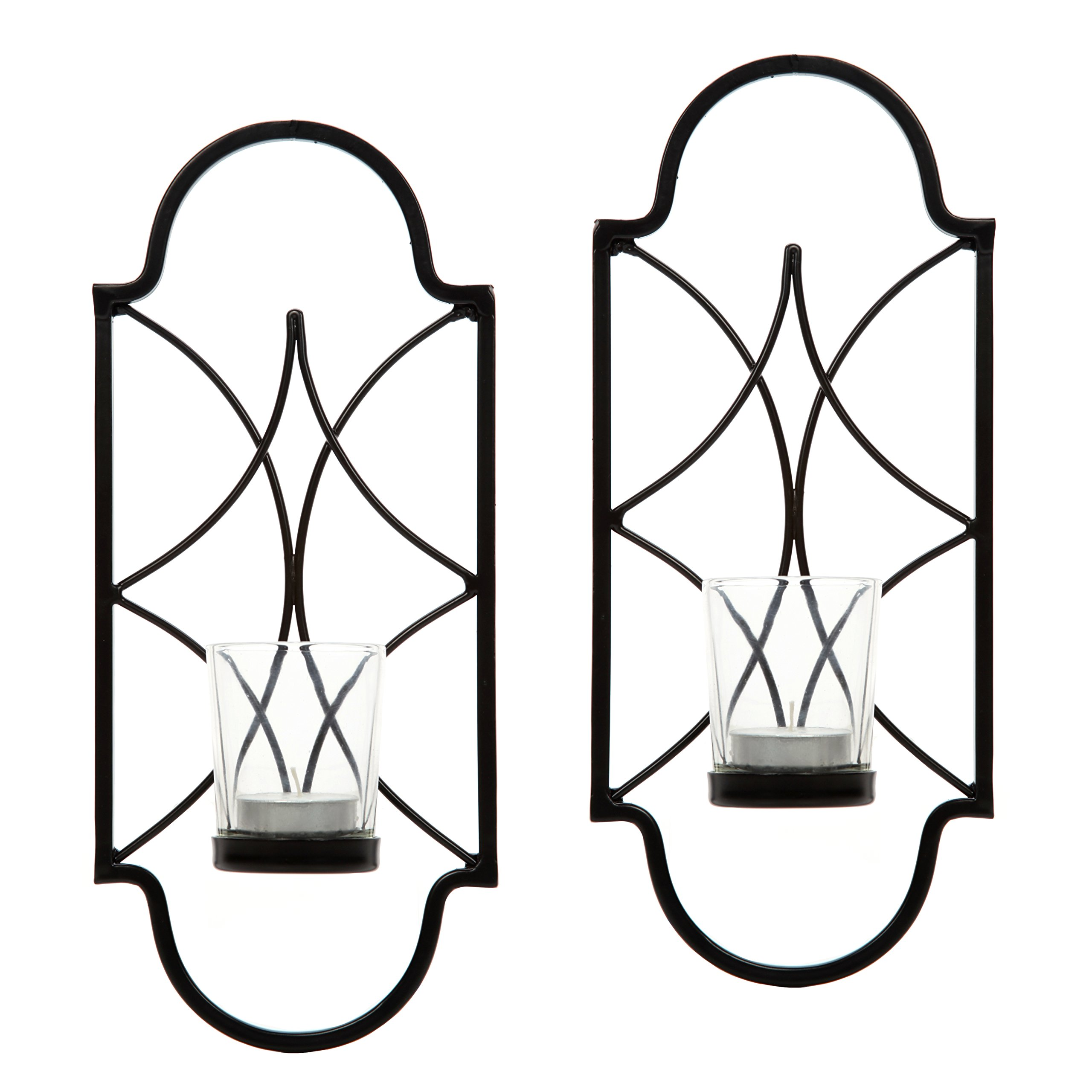 Hosley Set of 2-12'' High Iron Tea Light Candle Wall Sconces. Ideal Gift for Wedding, Special Occasion, Spa, Aromatherapy. Hand Made by Artisans O3