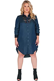 Standards /& Practices Plus Size Womens Long Sleeved Collared Denim Shirt Dress