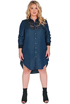 Standards & Practices Plus Size Women\'s Long Sleeved Collared Denim ...