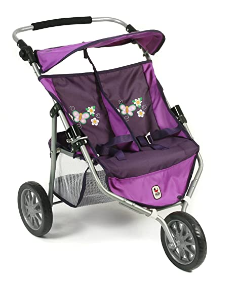 Bayer Chic Jogger Checker 2000 697 28 - Carrito gemelar para muñecas, color lila