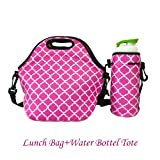 Amazon Price History for:Amerzam Neoprene Lunch Bags/Lunch Boxes, Waterproof Outdoor Travel Picnic Lunch Box Bag Tote with Zipper and Adjustable Crossbody Strap (Rose Red Lunch Bag+Water Bottle Tote)