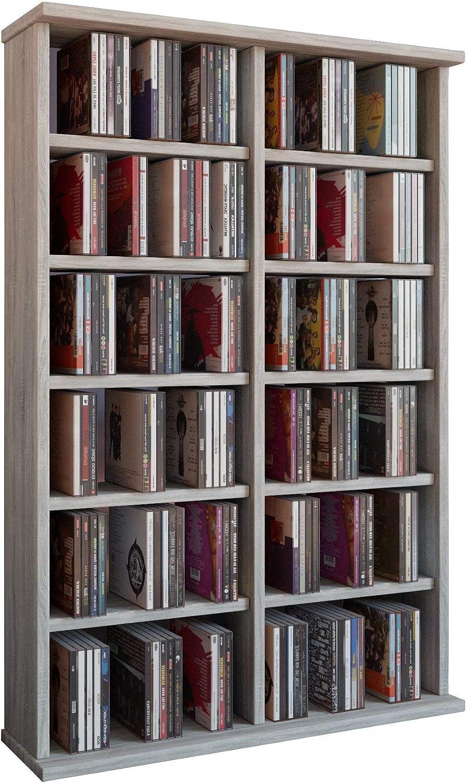 VCM Ronul-Torre para CD/DVD, para 300 CDs, sin Puerta de Cristal, Efecto Corte de Sierra, Color, Roble Sonoma