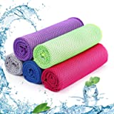 SKL Cooling Towel 5 Packs Sports Towels Stay Cool Towel for Sports, Swimming, Women, Yoga, Workout, Athletes, Gym, Neck…