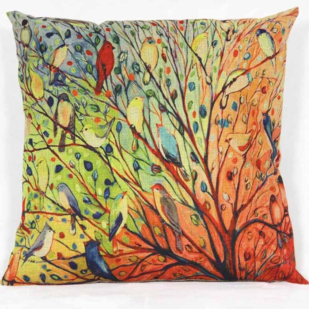 Iuhan® Fashion Tree Flower Floral Cotton Sofa Pillowcase Cushion Cover