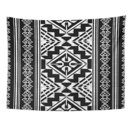 Emvency Tapestry Black Aztec Ethnic Doodle Pattern Tribal Graphic Designs  Geometric Folk White Home Decor Wall