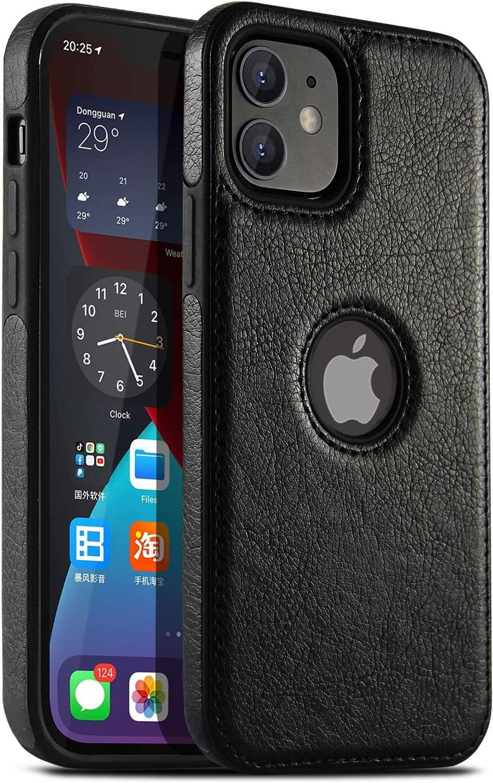 USLOGAN Vegan Leather Phone Case for iPhone 11 Luxury Elegant Vintage Slim Phone Cover 6.1 inch (Black)