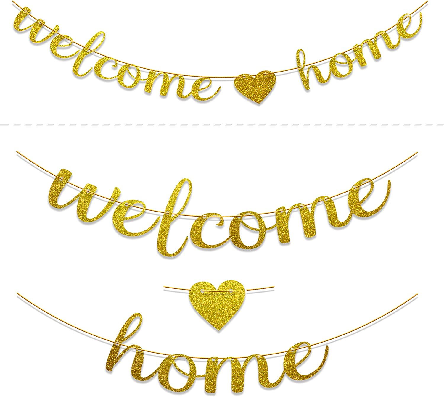 Ushinemi Welcome Home Banner, Glitter Welcome Home Sign Decorations, Gold 1pcs