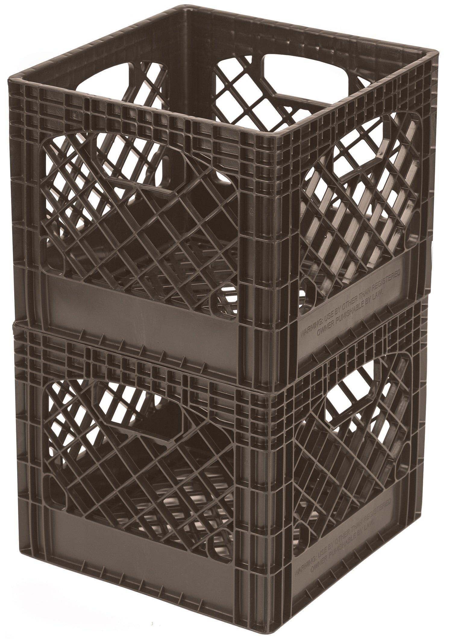 Buddeez MC01016BRN7533 Milk Crates, 16-Quart, Brown, 2-Pack by Buddeez