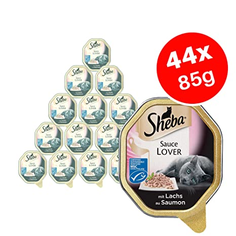 Sheba - Abrigo de salsa con salmón para adulto (gato mojado, 85 g,