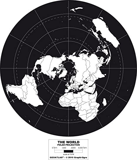 Polar projection world map poster black white amazon polar projection world map poster black white gumiabroncs Choice Image