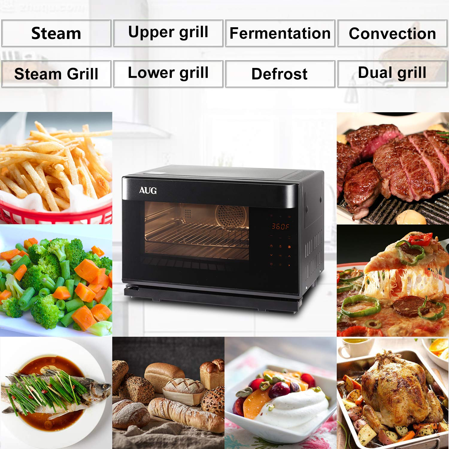 AUG Convection Steam Grill Oven, 0.9 Cu. Ft. Smart Household Countertop Combi Steamer with 8 Cooking Modes, Matte Black Stainless Steel by AUG (Image #5)
