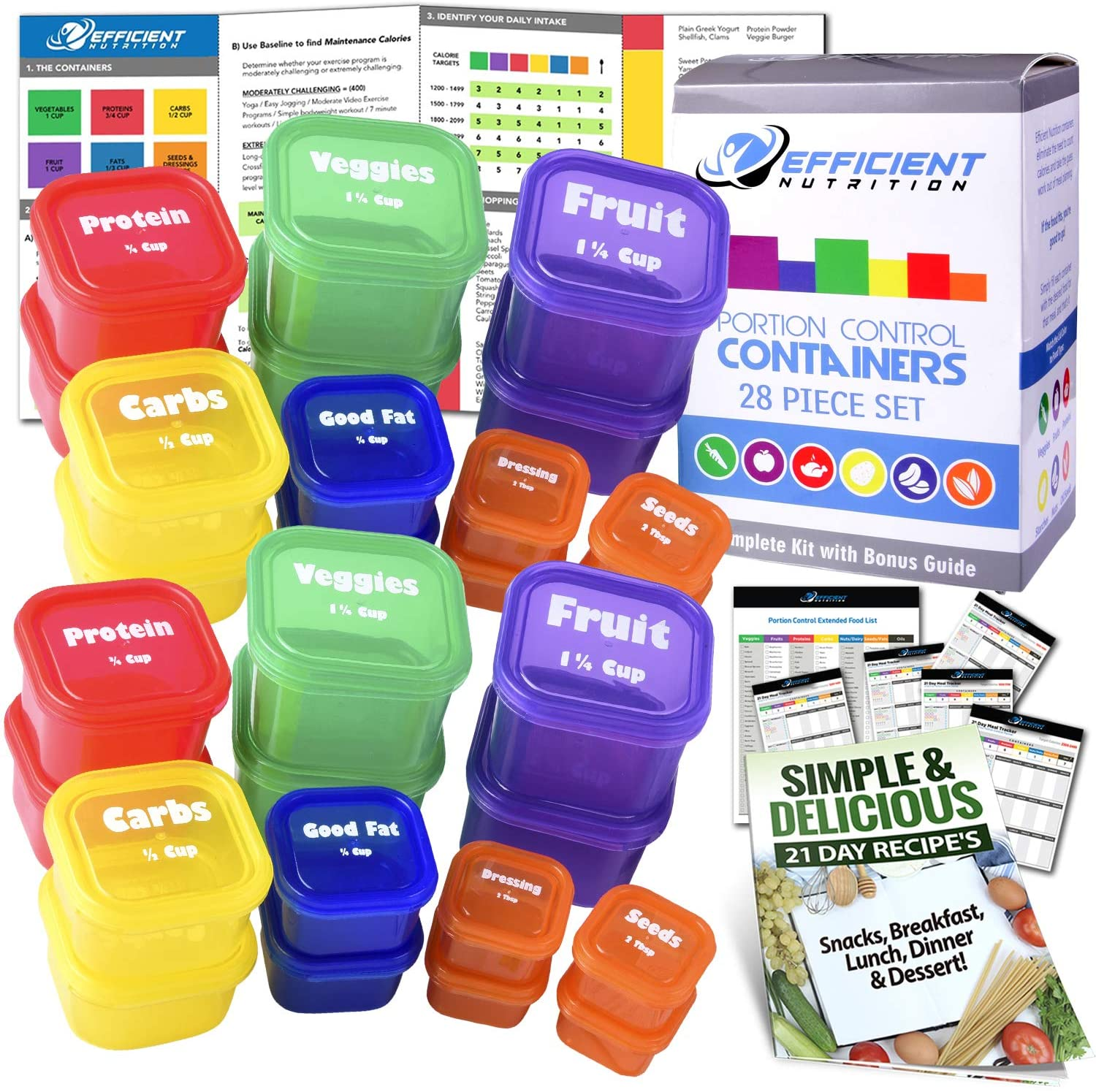 21 Day LABELED Efficient Nutrition Portion Control Containers Kit (28-Piece) + COMPLETE GUIDE + 21 DAY PLANNER + RECIPE eBOOK, BPA FREE Color Coded Meal Prep System for Diet and Weight Loss