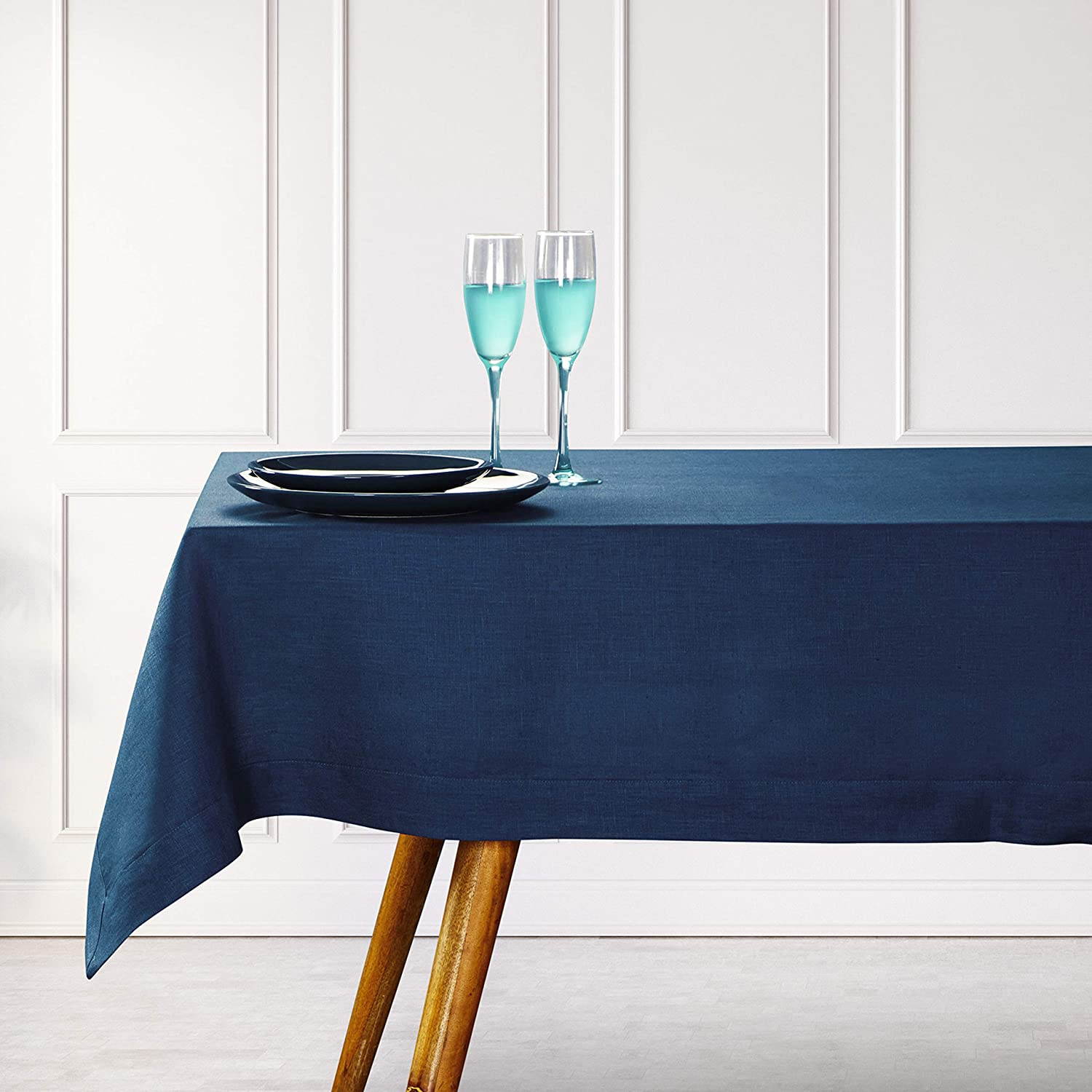 D'Moksha Homes 100% Pure Linen Rectangle Tablecloth, 60x90 inches - Handmade, Decorative Table Cover for Kitchen, Dining, Restaurant, Party, Cocktail, Daily Use - Navy Blue. European Flax