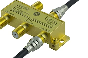 Amazon.com: GE Pro Digital 4-Way Coaxial Splitter, 5 - 2500 MHz, Distributes a Digital Signal to Multiple TVs from Cable and Satellite, RG6 Coax Compatible, ...