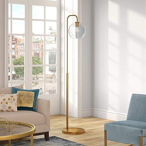 Henn Hart FL0294 Brass Arc Floor Lamp